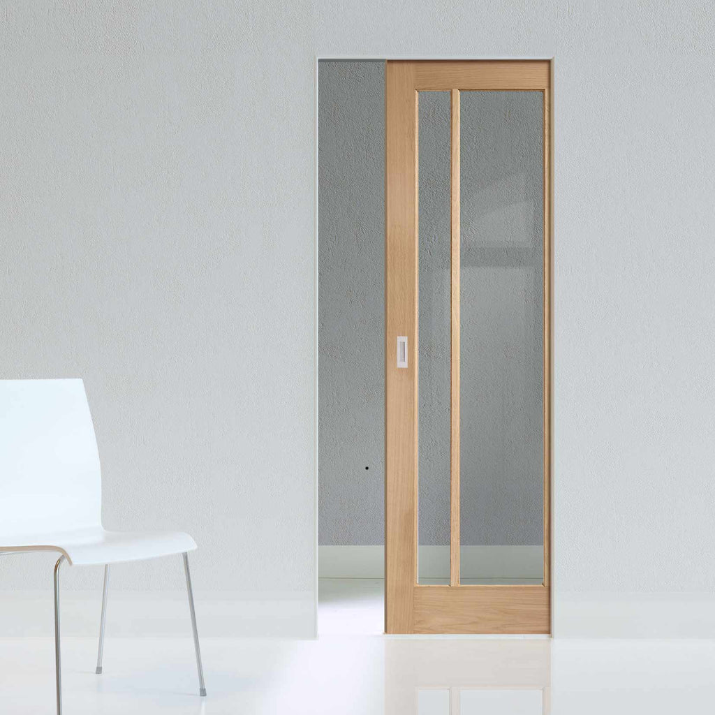 Worcester Oak 3 Pane Absolute Evokit Pocket Door - Clear Glass - Prefinished