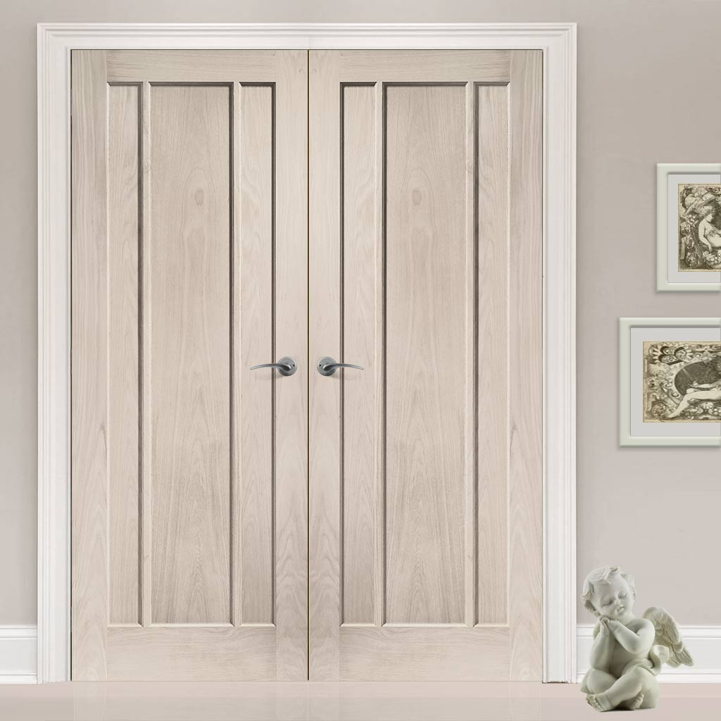 Prefinished Worcester Oak 3 Panel Door Pair - Choose Your Colour