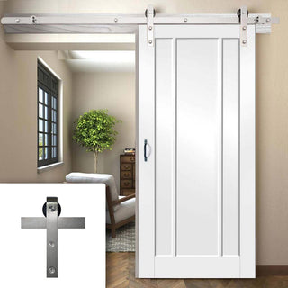 Image: Single Sliding Door & Track - Worcester 3 Panel Door - White Primed