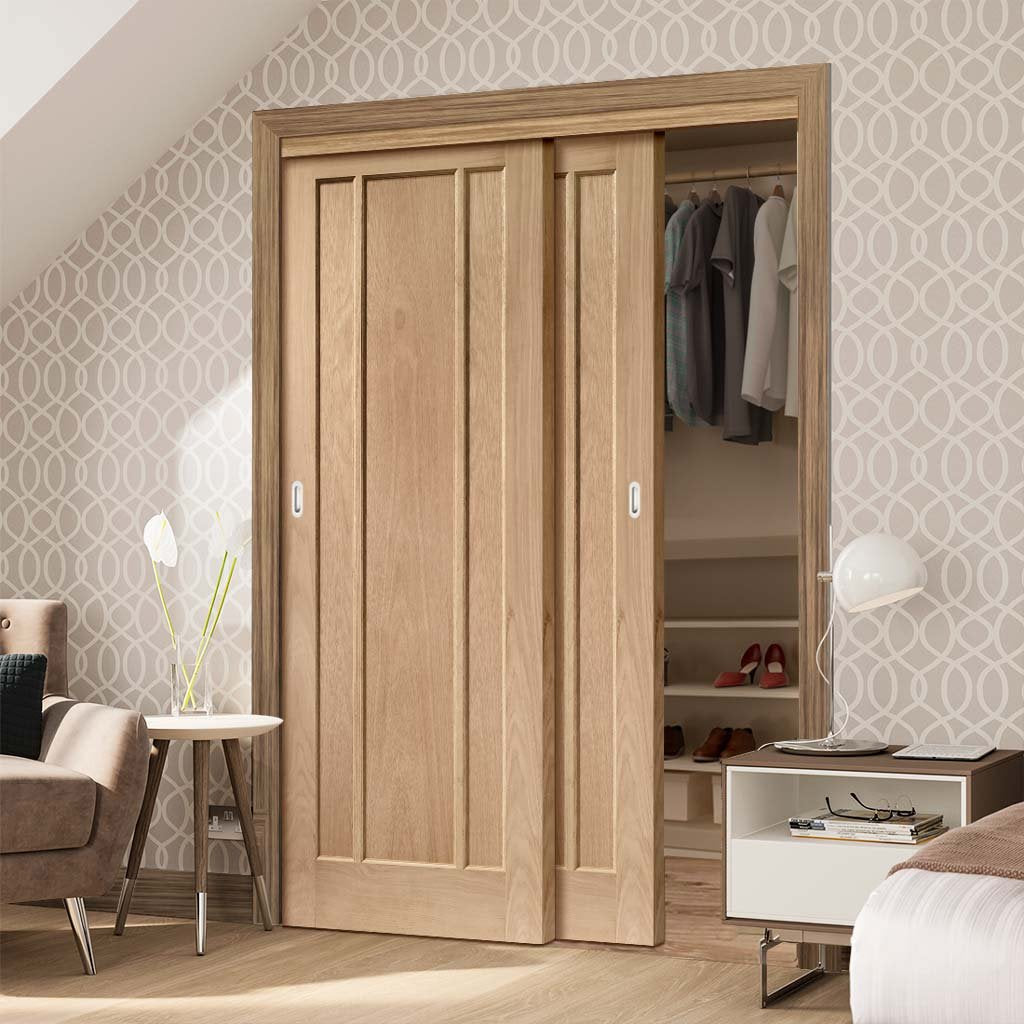 Bespoke Thruslide Worcester Oak 3 Panel 2 Door Wardrobe and Frame Kit