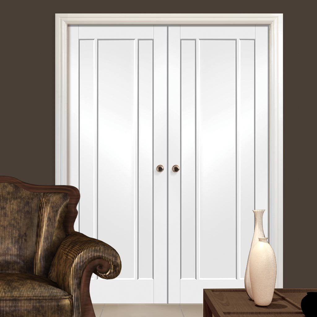 Bespoke Worcester 3 Panel Fire Door Pair - White Primed - 1/2 Hour Fire Rated