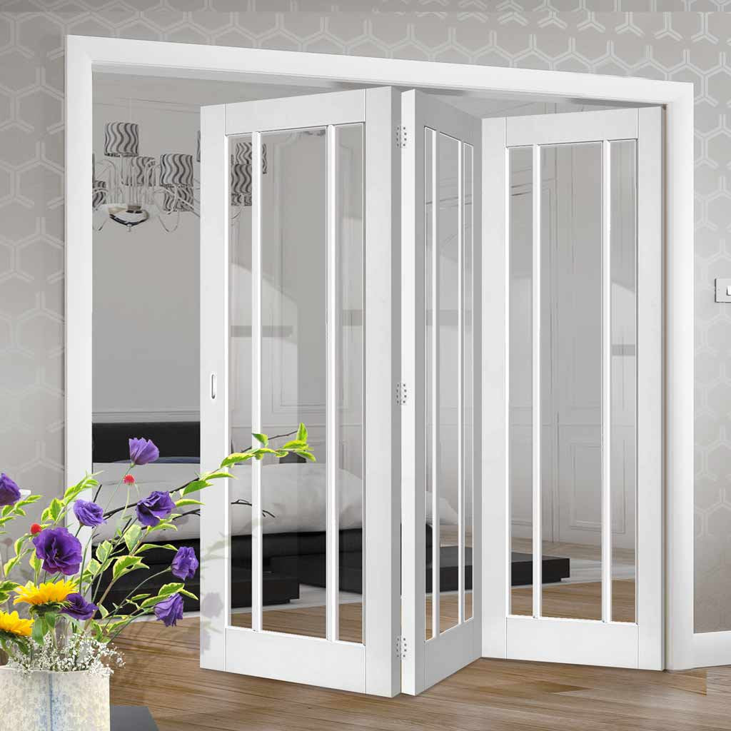 Three Folding Doors & Frame Kit - Worcester 3 Pane 3+0 - Clear Glass - White Primed