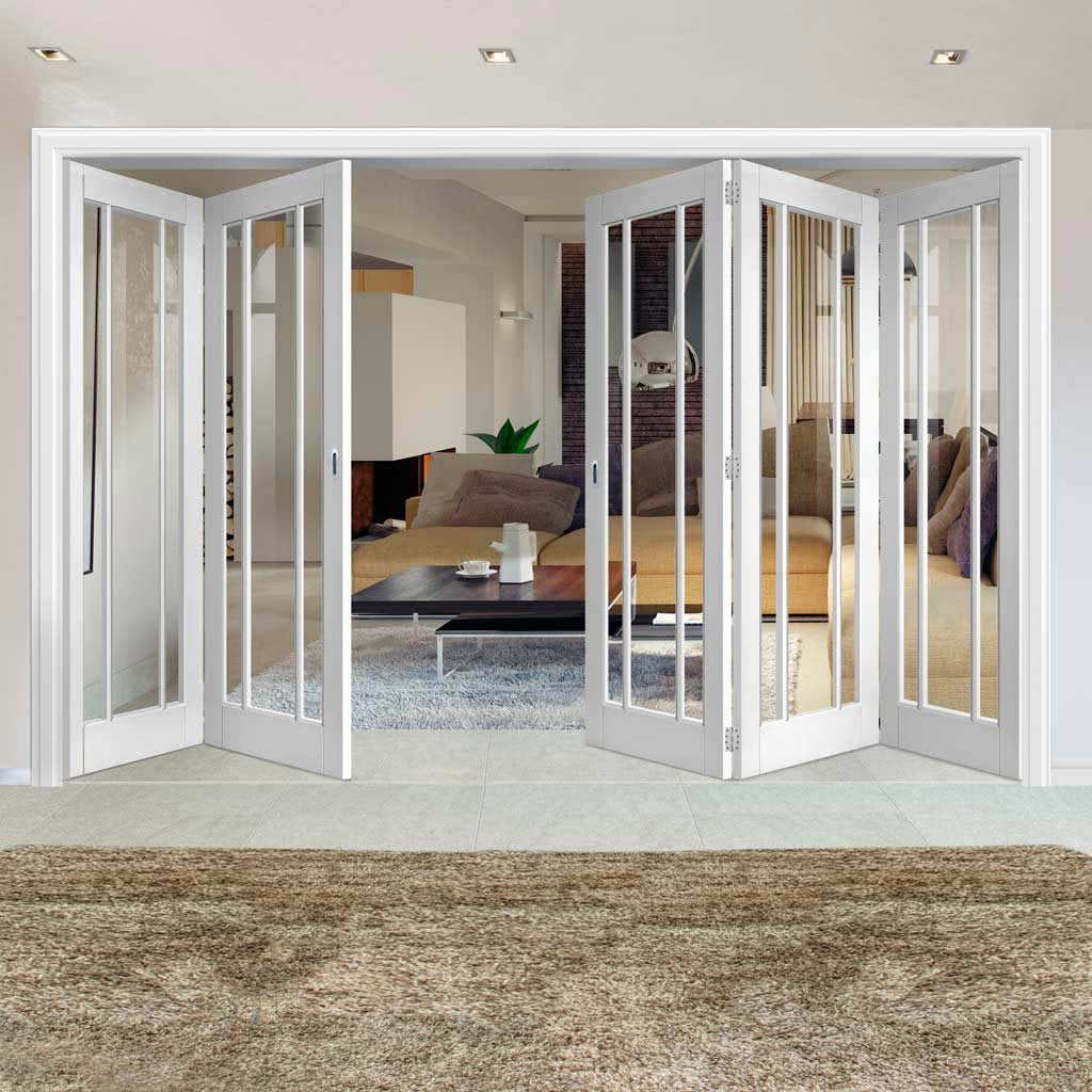 Five Folding Doors & Frame Kit - Worcester 3 Pane 3+2 - Clear Glass - White Primed