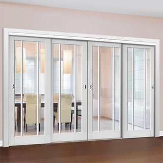 Image: Four Sliding Doors and Frame Kit - Worcester 3L Door - Clear Glass - White Primed