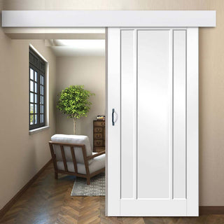 Image: Thruslide Surface Worcester 3P - Sliding Door and Track Kit - White Primed