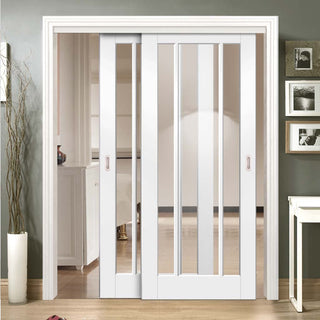 Image: Two Sliding Doors and Frame Kit - Worcester 3L Door - Clear Glass - White Primed
