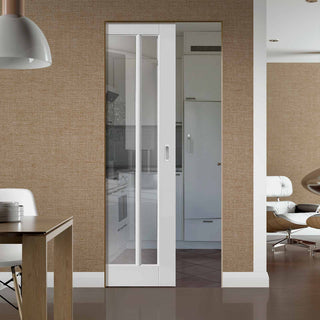 Image: Worcester 3 Pane Absolute Evokit Pocket Door - Clear Glass - Primed