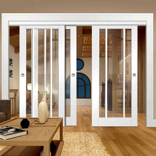 Image: Three Sliding Doors and Frame Kit - Worcester 3L Door - Clear Glass - White Primed