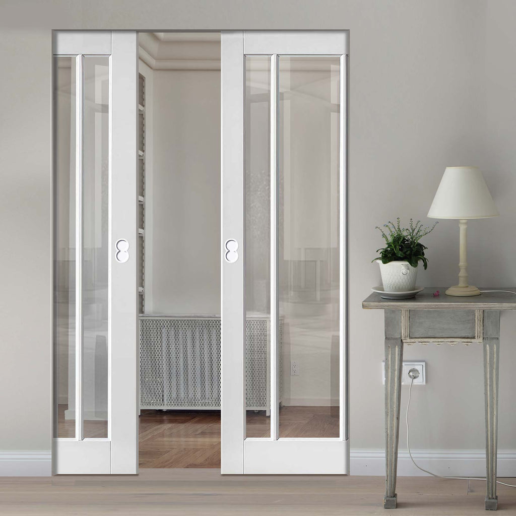Worcester 3 Pane Absolute Evokit Double Pocket Door - Clear Glass - Primed