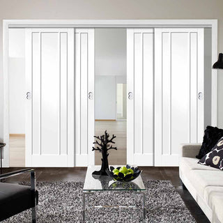 Image: Four Sliding Doors and Frame Kit - Worcester 3P Door - White Primed