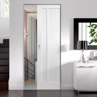 Image: Worcester 3 Panel Absolute Evokit Pocket Door - Primed
