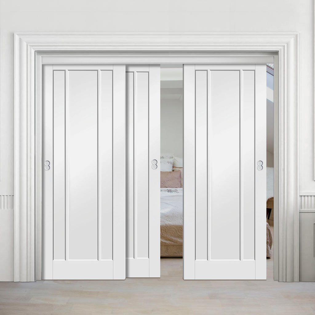 Three Sliding Doors and Frame Kit - Worcester 3P Door - White Primed