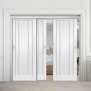 Image: Three Sliding Doors and Frame Kit - Worcester 3P Door - White Primed