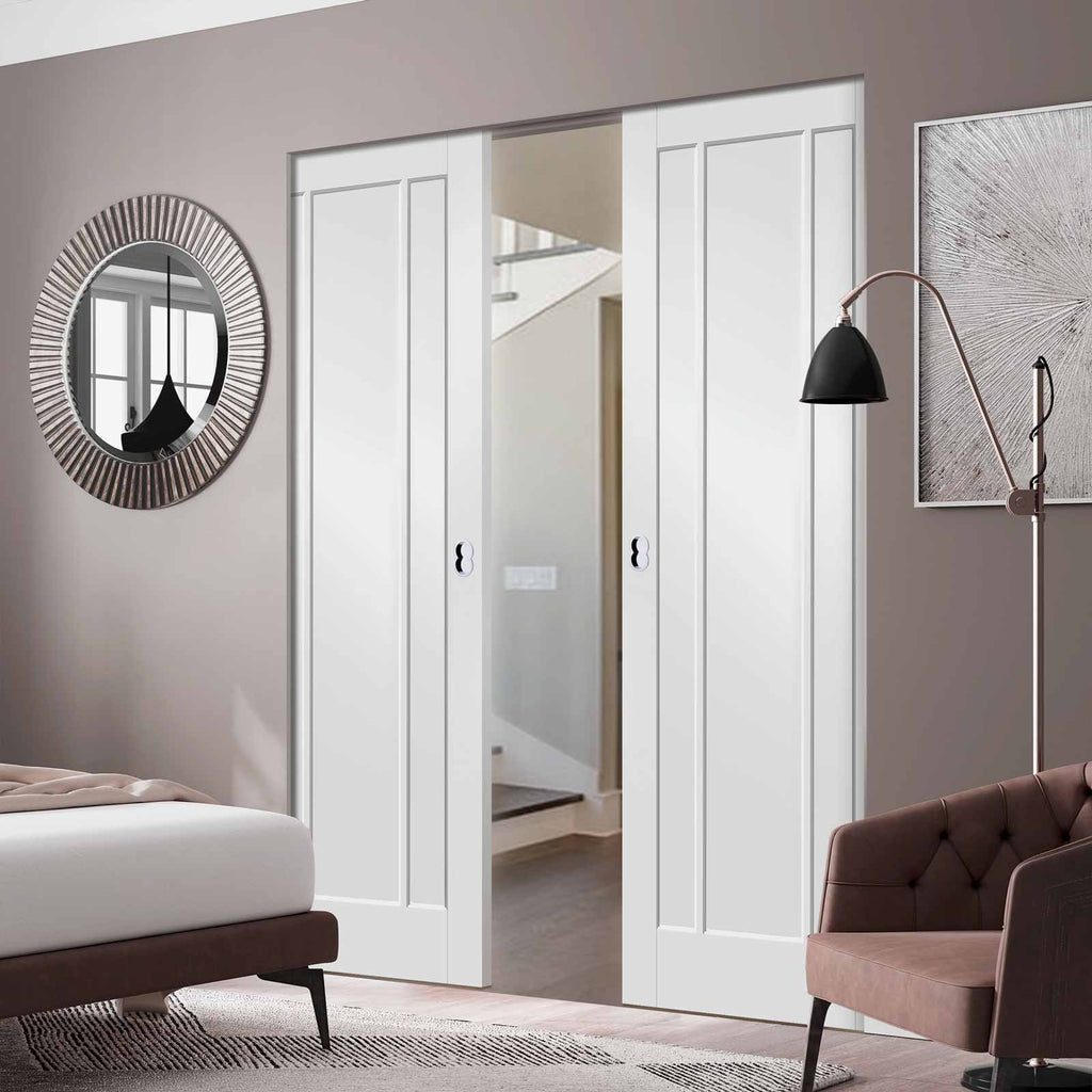 Worcester 3 Panel Absolute Evokit Double Pocket Door - Primed
