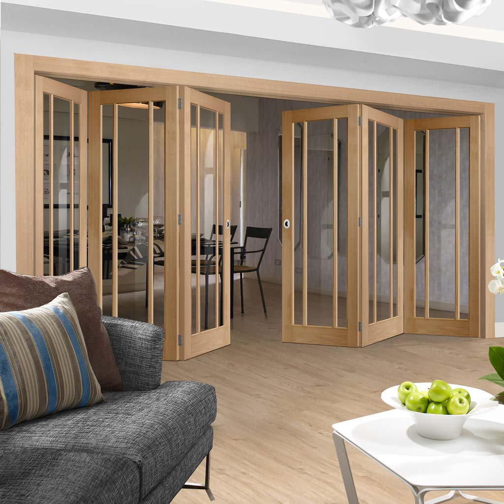 Bespoke Thrufold Worcester Oak 3 Pane Glazed Folding 3+3 Door - Prefinished