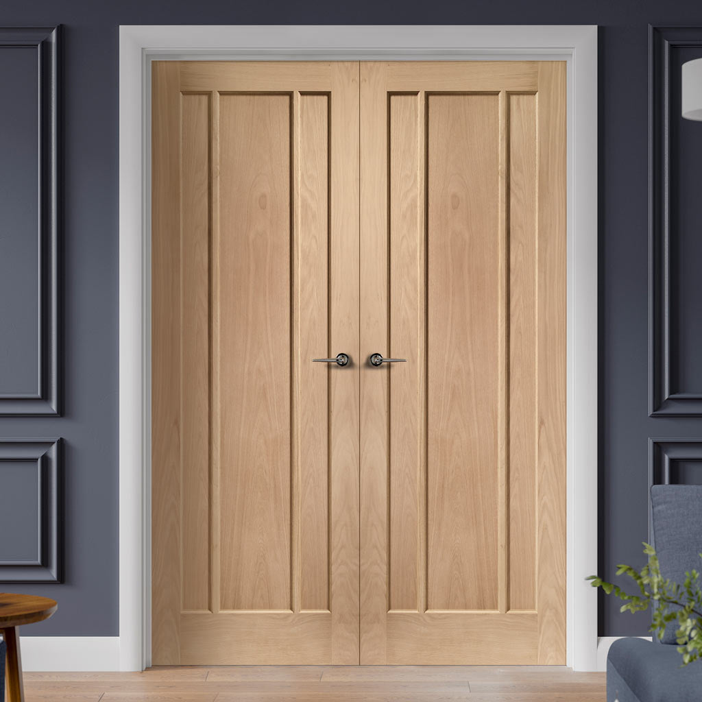 Worcester Oak 3 Panel Door Pair - Prefinished