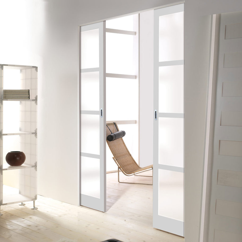 Bespoke Industrial Double Frameless Pocket Door WK6358 - Frosted Glass - 4 Prefinished Colour Choices