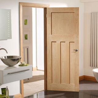 Image: Fire Rated DX Panel Oak Door - 1/2 Hour Fire Rated