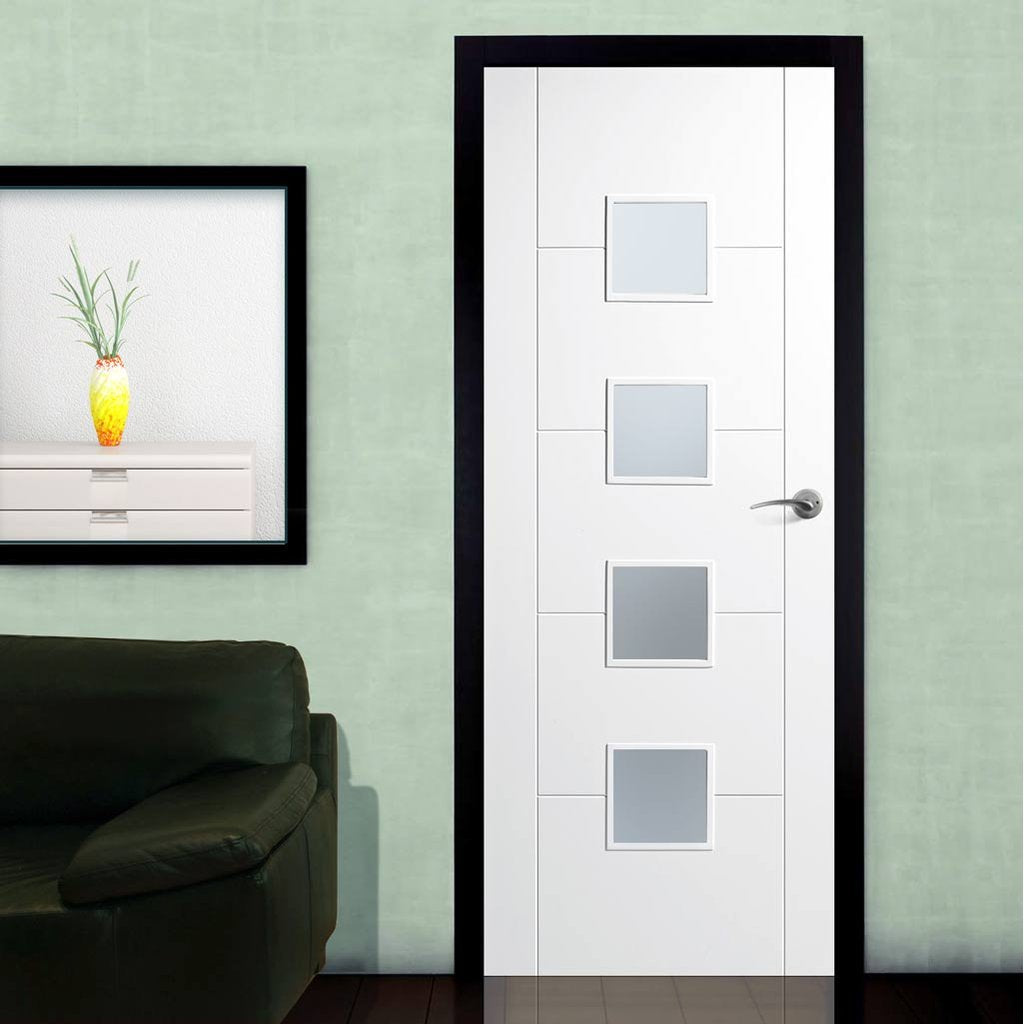 Vancouver Flush Door - Frosted Glass - White Primed