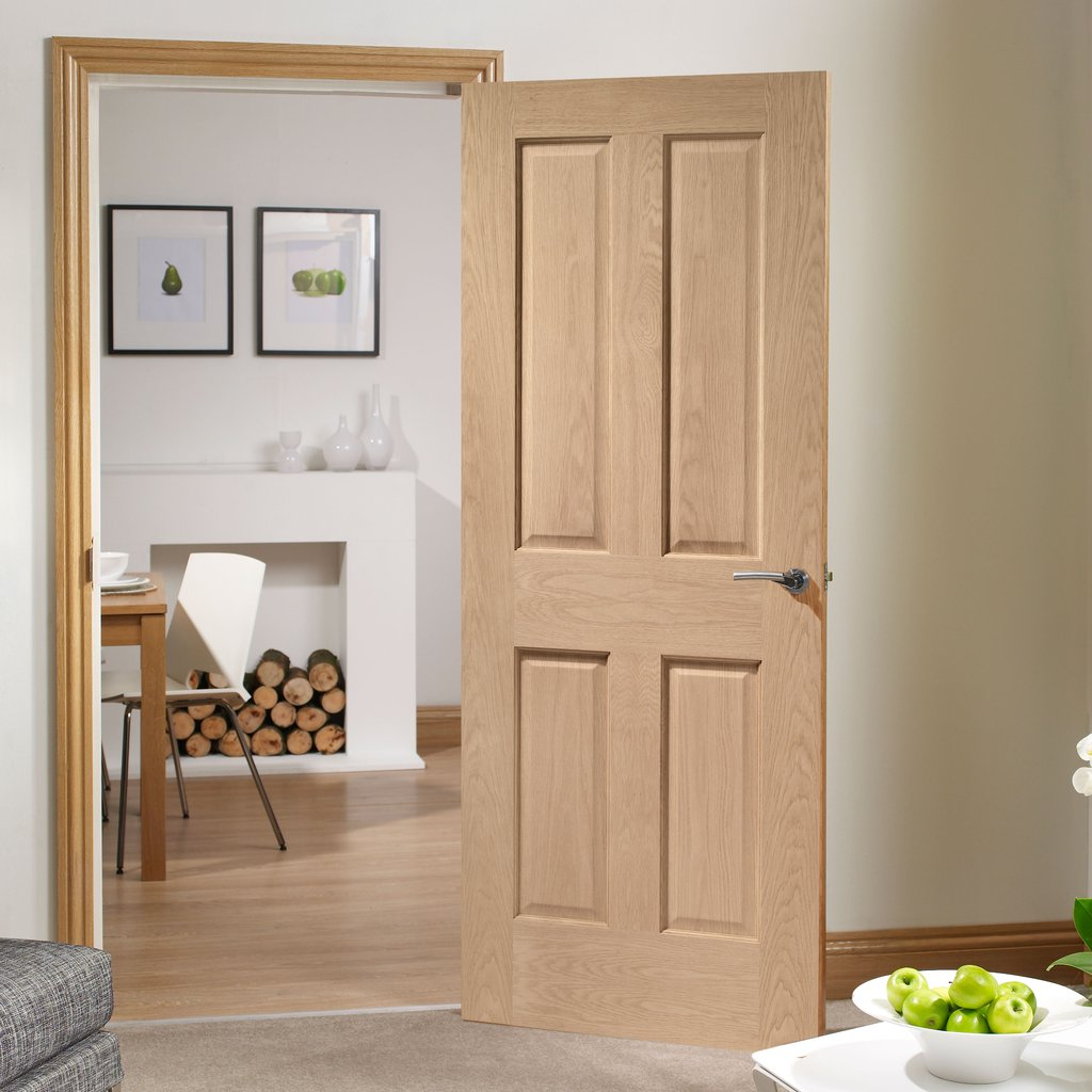 Door and Frame Kit - Victorian Oak 4 Panel Door - No Raised Mouldings - Prefinished