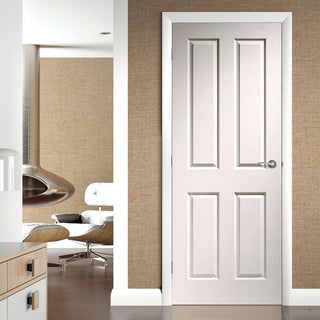 Image: Door and Frame Kit, Victorian 4 Panelled Door - Grained - Primed