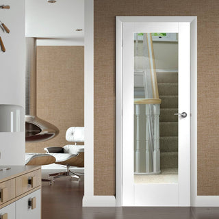 Image: Pattern 10 White Primed Door with Clear Safety Glass