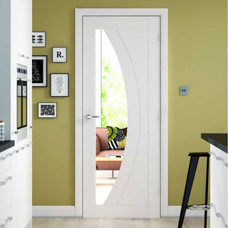 Image: Salerno Door  with Clear Glass - White Primed
