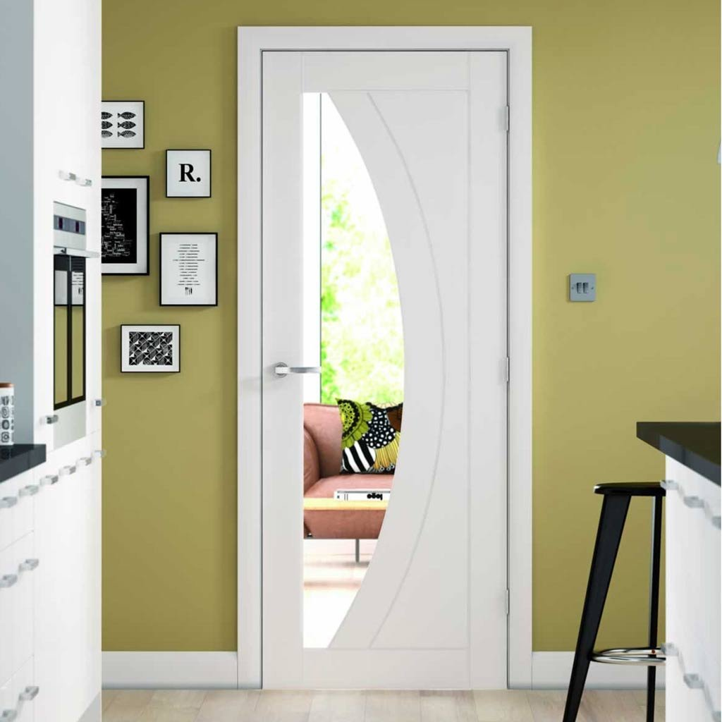Door and Frame Kit - Salerno Door - Clear Glass - White Primed