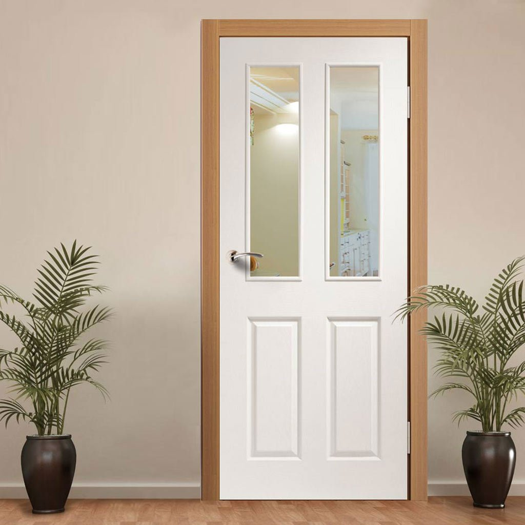 Door and Frame Kit - Victorian Door - Clear Glass - White Primed