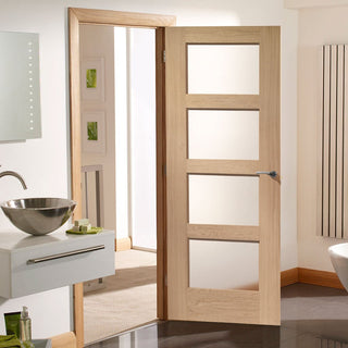 Image: Shaker Oak 4 Pane Fire Door - Clear Glass