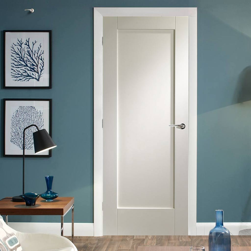 Fire Proof Pattern 10 1 Panel Fire Door - 1/2 Hour Fire Rated - White Primed