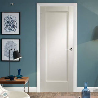 Image: Pattern 10 White Primed Panel Fire Door is 1/2 Hour Fire Rated.