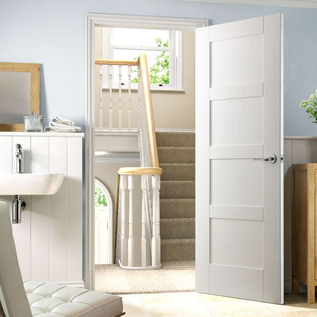 Shaker style four panel white interior door