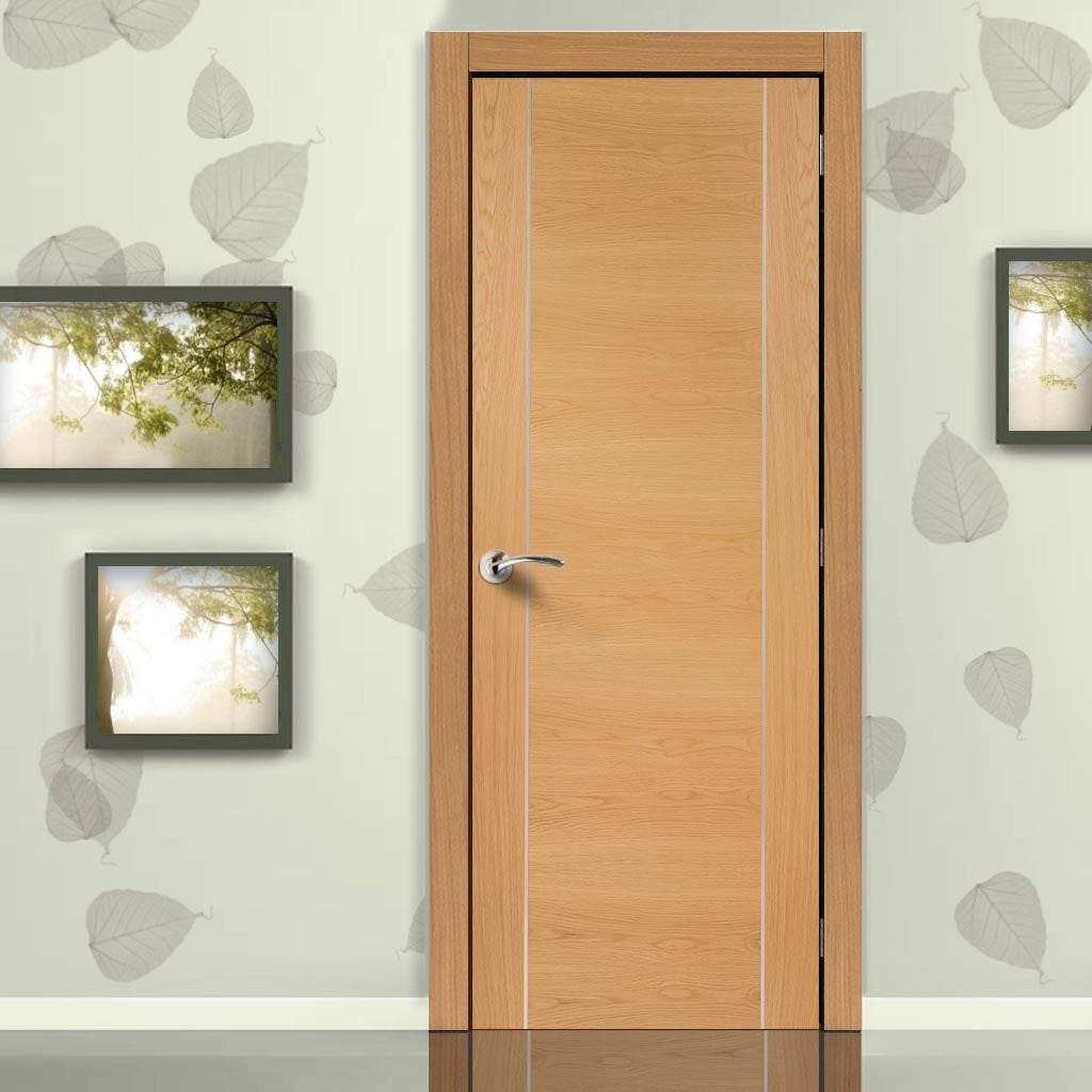 Door and Frame Kit, Forli Oak Flush Door - Aluminium Inlay - Prefinished