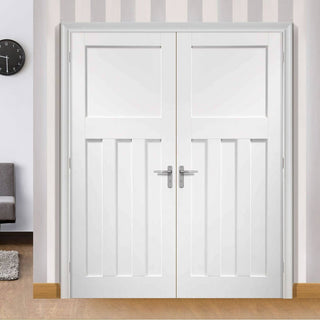 Image: Simpli Double Door Set - DX 1930's Panelled Door - White Primed