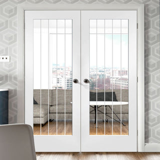 Image: Suffolk 1 Pane Door Pair - Clear Glass - White Primed