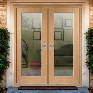 Image: Pattern 10 1L Exterior Oak Double Door and Frame Set - Clear Double Glazing
