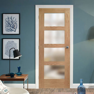 Image: Shaker Oak 4 Pane Door - Obscure Glass