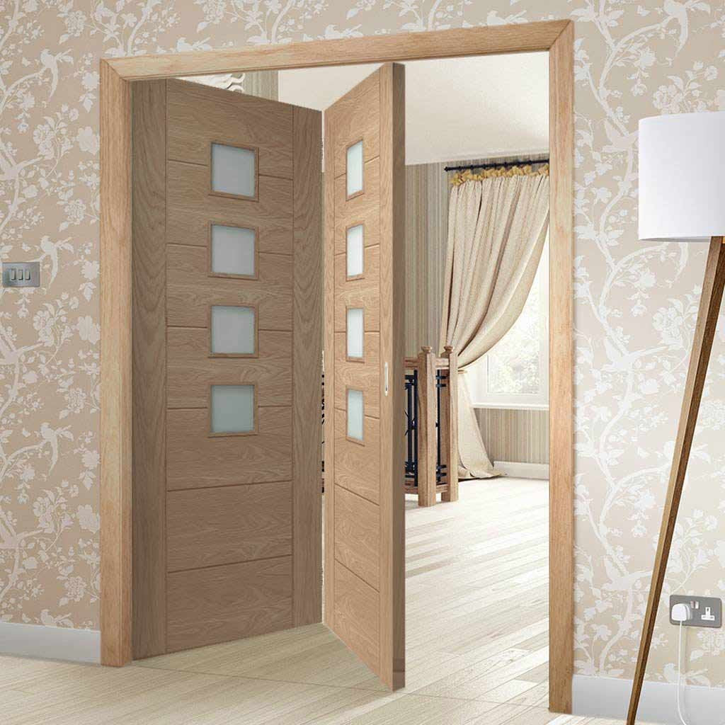 Bespoke Thrufold Palermo Oak Glazed Folding 2+0 Door - Prefinished