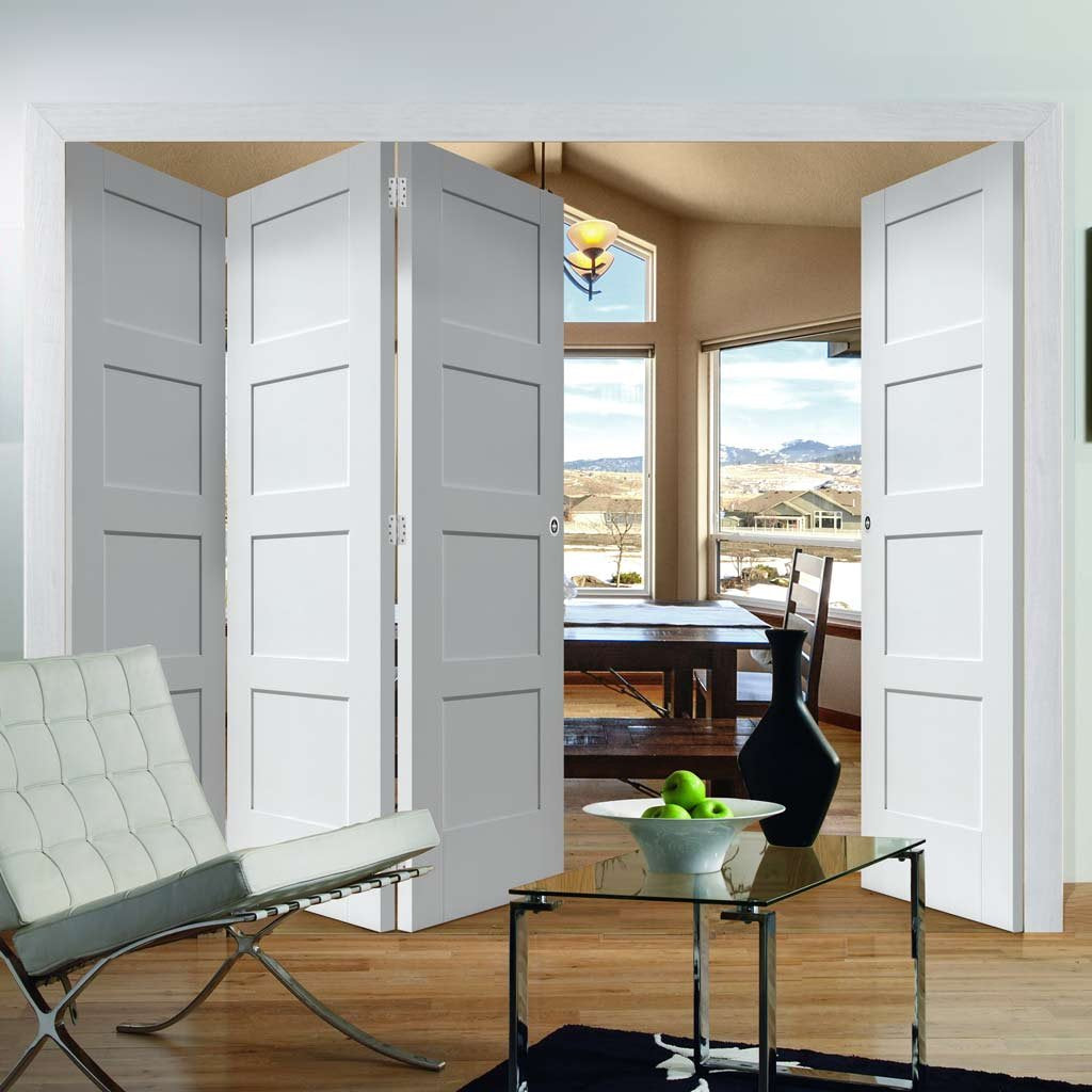 Four Folding Doors & Frame Kit - Shaker 4 Panel 3+1 - White Primed
