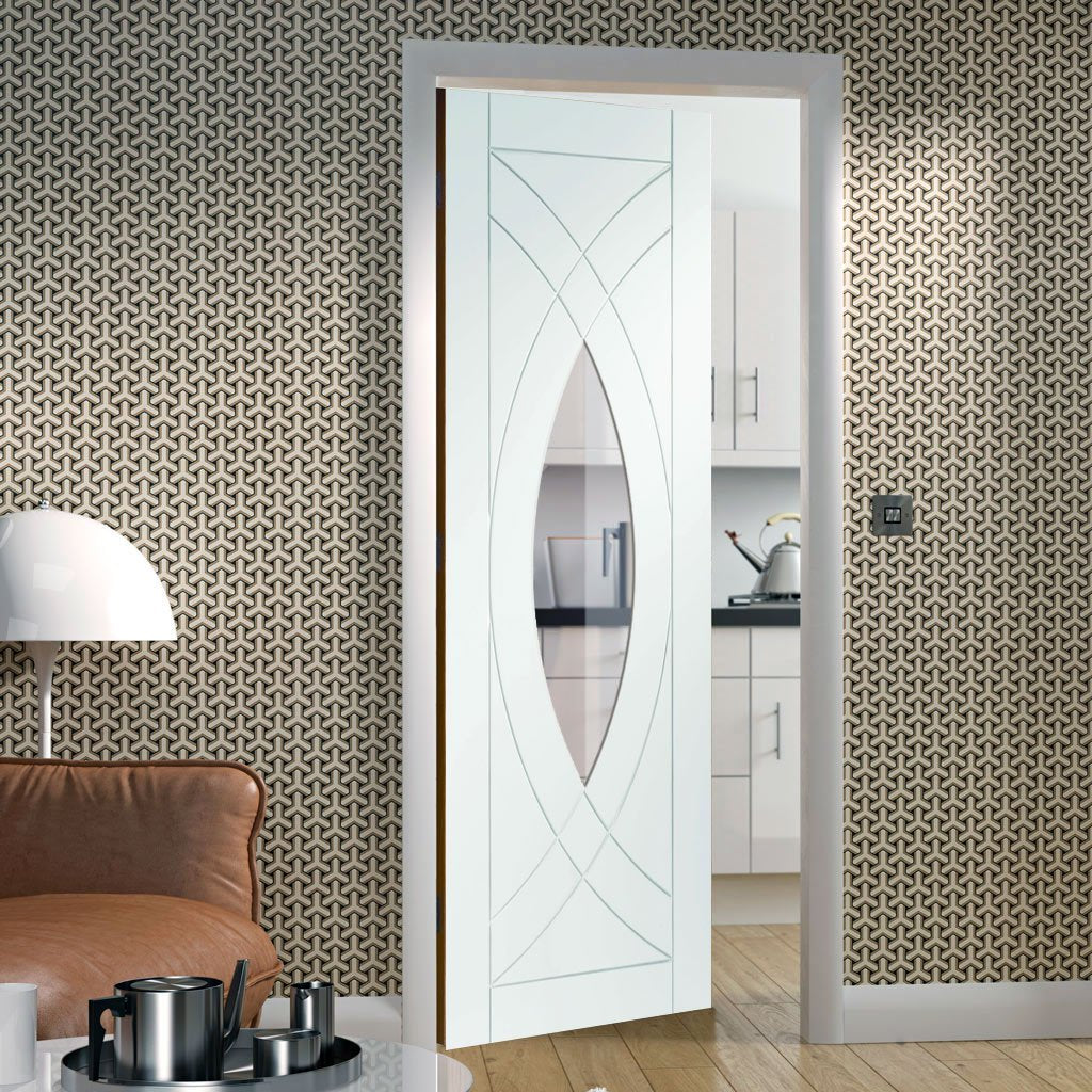 Door and Frame Kit - Treviso Door - Clear Glass - White Primed