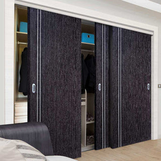 Image: Bespoke Ash Grey Zanzibar Door - 3 Door Wardrobe and Frame Kit - Prefinished