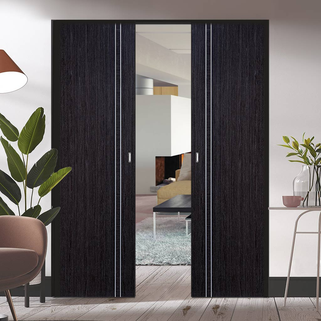 Bespoke Ash Grey Zanzibar Double Frameless Pocket Door - Prefinished