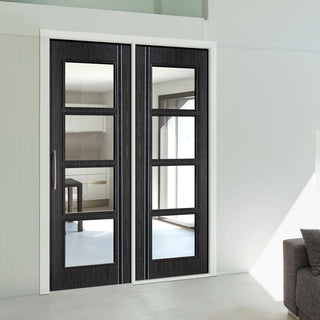 Image: ThruEasi Room Divider - Zanzibar Ash Grey Prefinished Clear Glass Door with Single Side - 2018mm High - Multiple Widths