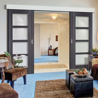 Image: Thruslide Surface Zanzibar Ash Grey Sliding Double Door and Track Kit- Clear Glass - Prefinished