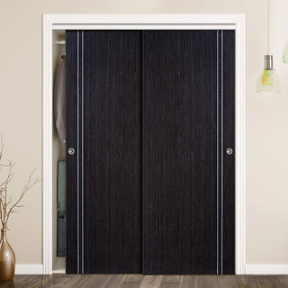 Image: Two Sliding Wardrobe Doors & Frame Kit - Zanzibar Ash Grey Door - Prefinished