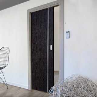 Image: Ash Grey Zanzibar Single Evokit Pocket Door - Prefinished