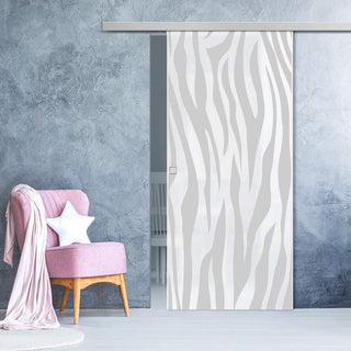 Image: Single Glass Sliding Door - Zebra Animal Print 8mm Obscure Glass - Obscure Printed Design with Premium Track
