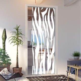 Image: Zebra Animal Print 8mm Clear Glass - Obscure Printed Design - Single Evokit Glass Pocket Door
