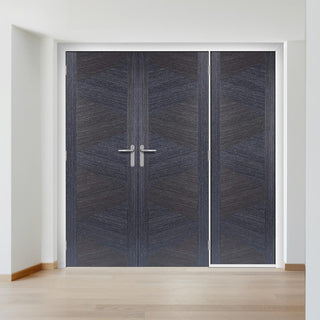 Image: ThruEasi Room Divider - Zeus Flush Ash Grey Prefinished Double Doors with Single Side - 2018mm High - Multiple Widths